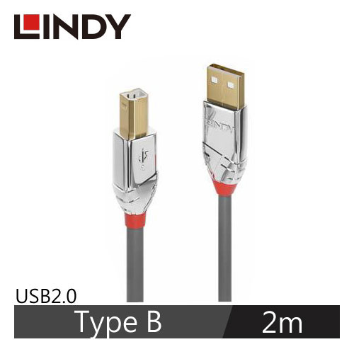 LINDY CROMO LINE USB2.0 Type-B 印表機傳輸線 2m